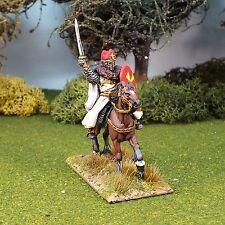 Médiévale 28 mm Early Bishop, un barded cheval, saga, lion rampant, non peinte, MEC03.
