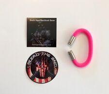 Paracord Bullet Casing Bracelet...NRA....2nd Amendment...Nickel 9mm...Pink