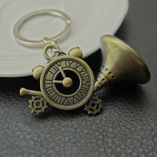 Antique Vintage Phonograph Clock Cooper Metal Keyring Key Chain Novelty Gift