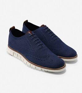 Cole Haan ZEROGRAND Wingtip Oxford Men's Shoes, Size 10.5 Navy Blue