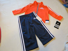 Boy's Baby 24M adidas active jacket pants set AG5806 625 red orange navy white