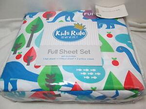 Kids Rule Prehistoric DINOSAURS Trees Apple Full Sheet Set ~ Red, Blue, Green
