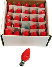 Box of 25 Night Light Candle Lamp Christmas String Bulbs - 7W, C7, - Opaque Red