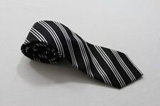 KR2059 Enrico Mori  Krawatte  schwarz, weiß glänzend gestreift