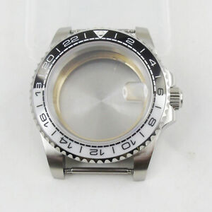 Fit NH35A 40mm Silver Watch Case Sapphire Glass Black White Insert Metal Back