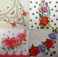 4 x single  PAPER NAPKINS - flowers folklore frame lace DECOUPAGE AND CRAFT-306