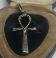 Vintage Sterling Silver Necklace 925 Pendant  Cross Egyptian Revival Ankh