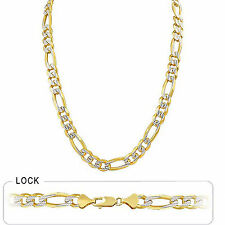 "9.40mm 26"" 88 gm 14k Gold Two Tone Heavy White Pave Men's Figaro Chain Necklace"
