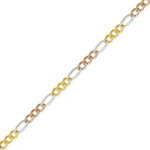 "14K Tricolor Solid Gold Diamond Cut Figaro Link Chain Women's 2.5mm sz 16""-26"""