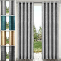 Thermal Insulated Blackout Curtains Eyelet Ring Top Outdoor Patio Curtain Pair