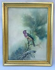 MAI VIOLET BACKED STARLING BIRD SIGNED ORIGINAL OIL PAINTING BIRD WATCHER ASIAN