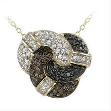 Gold on Silver Champagne Diamond, Black diamond & White Topaz Love Knot Necklace