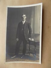 Real Photograph Vintage Old Postcard Unposted Young Man Suit Tie Pocket Watch RP
