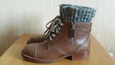 CHANEL Leather Brown Combat Boots Knitted Tweed Detail Size 39; US8.5-9