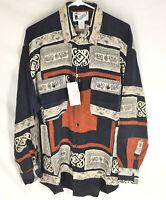 GOOUCH Mens Medium Long Sleeve Shirt Silk Button-Up 90s Abstract Art NWT VTG