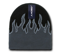 Dark Gray Black Tribal Flames Beanie Knit Cap Skully Hat Ski Winter Snowmobile