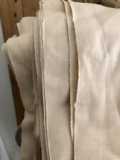 RARE French deadstock pure LINEN BOLT natural tone UPHOLSTERY c1900