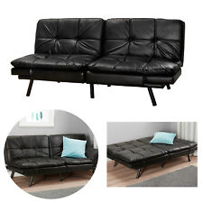 Memory Foam Futon Sofa Bed Full Convertible Couch Sleeper Faux Leather Black