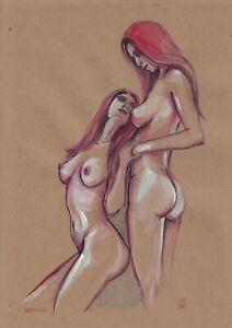 original drawing A4 257VE art samovar Pastel modern women naked Signed