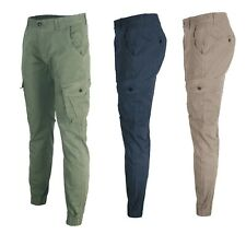 Pantaloni Cargo Uomo Tasche Laterali Cotone Estivo PAntalone Leggero Slim  Tasco