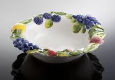Bassano runde mediterrane Obstschale, Früchten Relief italienische Keramik 31x31