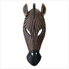 Primitive African Zebra mask tribal carved wood look wall hanging Statue decor