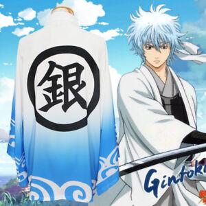 GINTAMA 銀魂 Anime Japanese Cosplay Kimono Haori Cloak Coat Chiffon Bathrobe