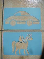NEUF LOT DE 2 POCHOIRS LICORNE + VOITURE  COLORIAGE DECORATION SCRAPBOOKING