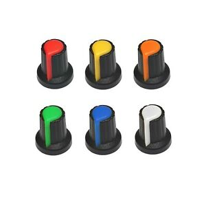 6x Coloured 6mm Spline Shaft Potentiometer Volume Control Knob Cap Plastic