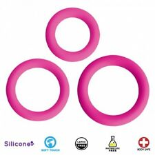 Curve Toys Gossip Soft Touch Love Ring Trio Silicone Body Safe Cock Rings - Pink