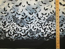 BATS BORDER BAT GREY BLACK COTTON FABRIC BTHY