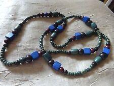 Hübsche Holz Halskette grün blau Perlen schwarz braun Elemente NEU Kette 90 cm