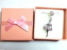 Ballerina Ballet Dancer Pink Crystal Pendant Necklace Gift boxed Birthday