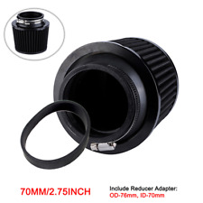 Black 70mm Air Filter Cleaner with Adapter For Motorcycle Pit Bike ATV Scooter