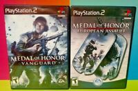 Medal of Honor Vanguard + European Assault - PS2 Playstation 2 Tested Game Lot