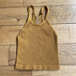 NEW Free People Movement Happiness Runs Long Crop Top, Golden Ochre, Size XS/S