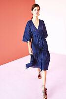Ulla Johnson Paulette Dress Printed Buttondown Ruffled Tiered Blue Midi S 4 New