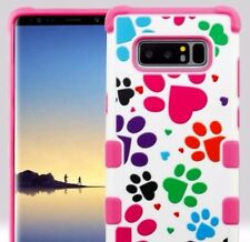 Samsung Galaxy Note 8 - Hard Hybrid Armor Impact Phone Case Pink Puppy Dog Paws