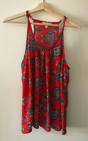 Lucy & Laurel Women's Sleeveless Red and Blue Floral Top Size Medium Halter