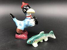 Vintage Miniature Shiken Crow Figurine & Rainbow Trout Ceramic Bone China Japan