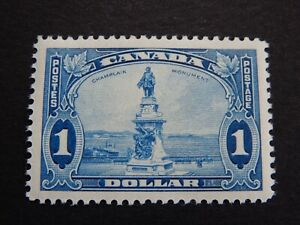 """#227 MH  Superb, perfectly-centred, $1 blue """"Champlain Monument, Quebec""""  CV=$80"""