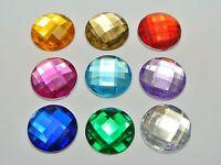 50 Mixed Color Acrylic Flatback Rhinestone Round Gem Beads 20mm No Hole