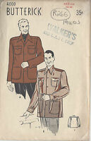 "1940s Vintage Sewing Pattern MEN'S JACKET C38""-40"" (R266)"