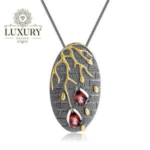 Natural Red Garnet Genuine 925 Sterling Silver Handmade Branch Pendant Necklace