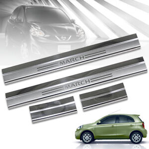 SCUFF PLATE SILL DOOR STEP CHROME FOR NISSAN MICRA MARCH K13 2010 12 14 16 18