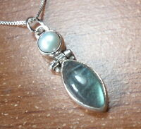 Cultured Pearl and Labradorite Marquise 925 Sterling Silver Necklace