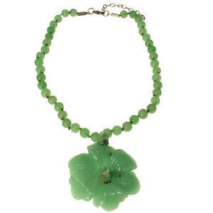 Semi-precious green agate stone chunky flower pendant bead stone choker necklace