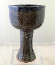 Primitive Stoneware HOPE Chalice Wine Goblet Signed Rita Abee NC Pottery AB
