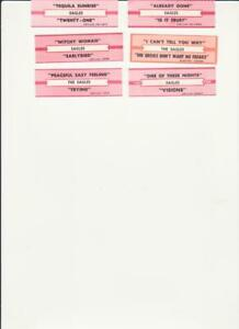 The Eagles- 6 Original 1970's Jukebox Title Strips/Tags