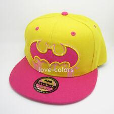 New Adjustable Snapback Batman Flat baseball Hat cap Yellow Hiphop Pink Unisex